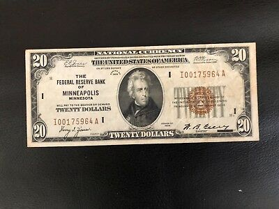 $20 NATIONAL CURRENCY, Federal Reserve of MINNEAPOLIS, MINNESOTA  FR 1870-I