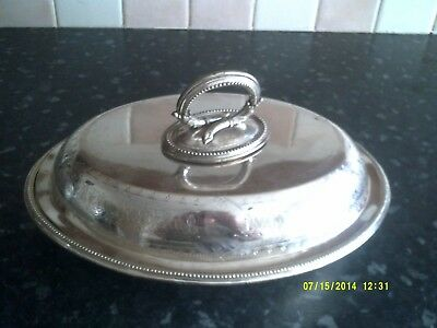 Silver plated lidded serving dish with a snake deseign for the handle