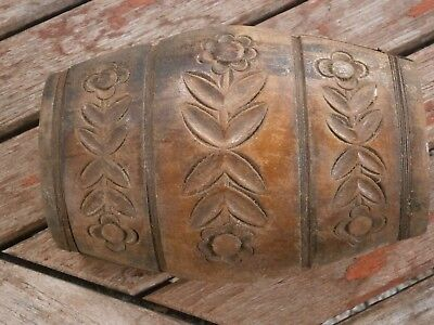 Antique Vintage Wooden Keg Cask Pin With Beautiful Hand Carving Flowers