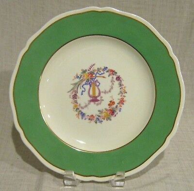 "Antique Spode Copeland 10 1/2"" Plate with Lyre and Flowers Green Trim"