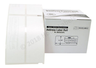 "Lot 1-50 700 Labels Per Roll Dymo Compatible 30253 2UP Labels 1-1/8"" x 3-1/2"""