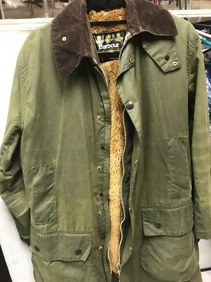 Mens Barbour Removeable Pile Lining Jacket, Size 38 Waxed,  England, Cord Collar