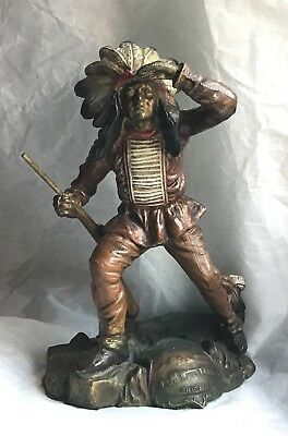 Antique Cold Painted Spelter Bronze'd Indian Scout K&O Co Chicago Field Museum