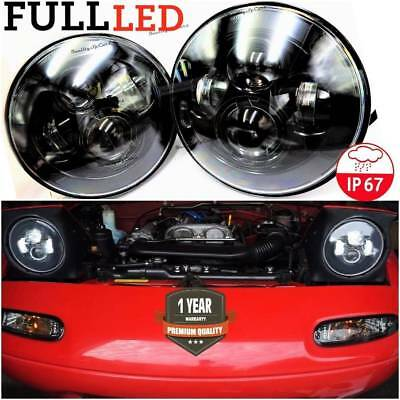 Coppia Fari LED mx5 mazda mx-5 na mk1 tuning NERO Headlight 7'' H4 6500K miata