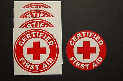 "Certified First Aid Circle Stickers (5 Pack!!) 2"" Decal CPR AED Hard Hat (492X5)"