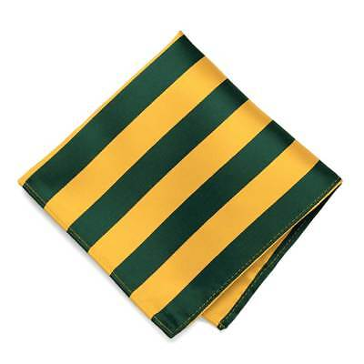 Hunter Green and Golden Yellow Striped Pocket Square