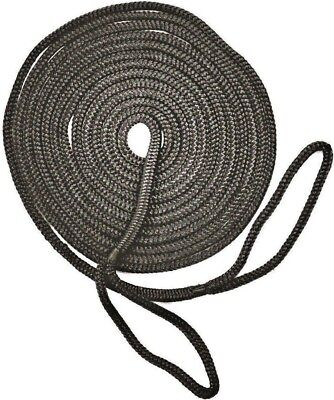 Mooring Rope Kit – 12mm X 9M Black Double Braid Dock Line With Loops