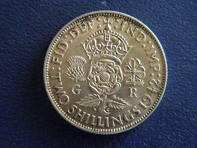 1942 WW2 British Silver Florin-2 Shillings -VG Condition-Stk#18-511
