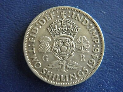 1946 WW2 British Silver Florin-2 Shillings-Last year of Silver-VG Cond-Stk18-512