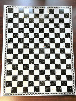 Dollhouse Miniature Black & White Marbled Square Checked Tile Flooring 1:12
