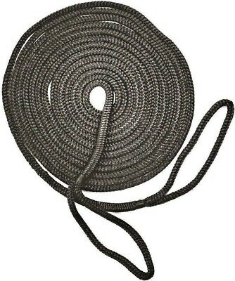 Mooring Rope Kit – 12mm X 6M Black Double Braid Dock Line With Loops