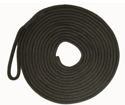 Mooring Rope Black 16 Plait Polyester UV Stabilised 12mm x 6M Dock Line 300mm