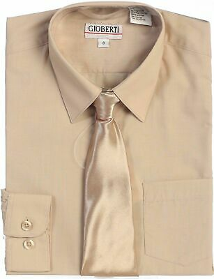 Boys Dress Shirt Solid Tie Long Sleeve Toddler Kids Formal Party Size 2T-18 New