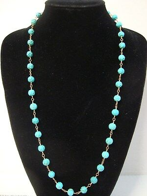 Vintage Chinese 20 Turquois Bead Necklace Carved with Longivity Symbol Shou