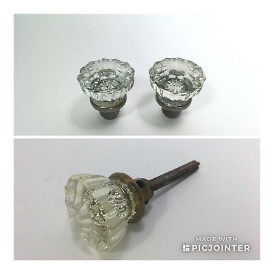 Lot of 3 Matching Antique GLASS DOOR KNOBS Architectural Salvage Vintage