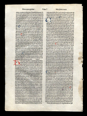 Rare 15th Cent Incunable Leaf Meditation Passion of Christ Hand-Colored Letters