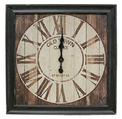 Large Vintage Old Town Clock, 28 Inches Square, Wood Framed, Battery Powered