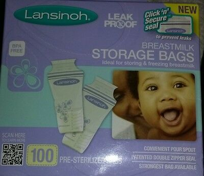 Lansinoh Breastmilk Storage Bags with Pour Spout & Double Zipper Seal 100 Count