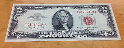 1963 $2 Crisp Uncirculated Red Seal United States Note - Serial #a01484124A