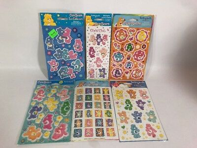 New Care Bear Stickers 6 Packs 13 Sheets 2002, 2004, 2005, 2006