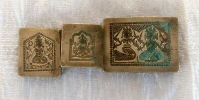 Antique Old Bronze Hand Carved Hindu God Lot Of 3 Design Jewelry Die Mold Seal