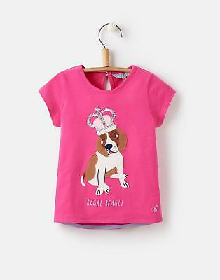 Joules Maggie Applique T shirt in Bright Pink Dog