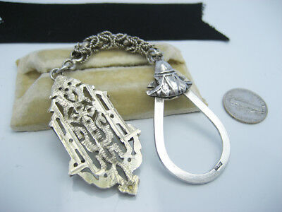 Antique Ornate Egyptian Solid Sterling Silver Engrave Fob Medallion Keychain Tag