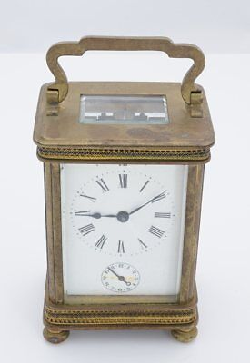 Unsigned Mid-Sized Carriage Clock W/Alarm, France, Brass, Pierced Details-33649