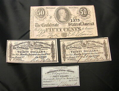 GENUINE CONFEDERATE Bond Notes---Hand Signed----Lot of 4 Notes