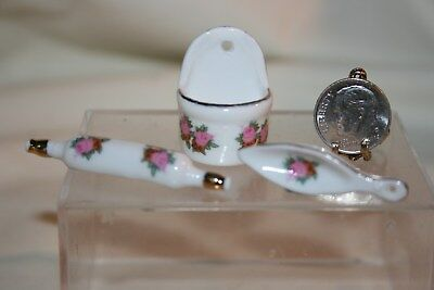 Miniature Dollhouse Porcelain Salt Box Rolling Pin Spoon Rest Pink Flora/Gold NR