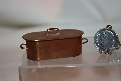 Miniature Dollhouse Vintage Aged Copper Fish Poacher w Lid Artisan 1:12 NR