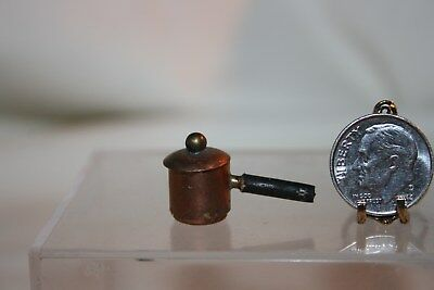 Miniature Dollhouse OLD VIntage Aged Copper Sauce Pot w Lid 1:12 Pot 1:24 NR