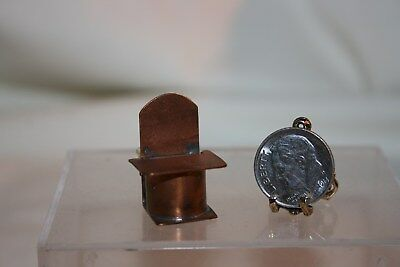 Miniature Dollhouse OLD Vintage Copper Salt Box w Flip Lid 1:12 NR
