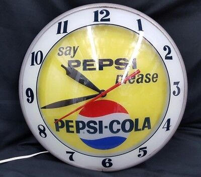 Vintage Say Pepsi Please Pepsi-Cola Double Bubble Large Electric Wall Clock