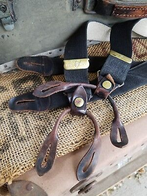 Vintage Retro braces Suspenders Police authentic early antique cool leather ends