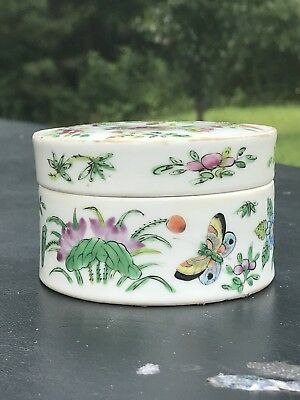1. 19th Century Antique Chinese Export Famille Rose Porcelain  Box