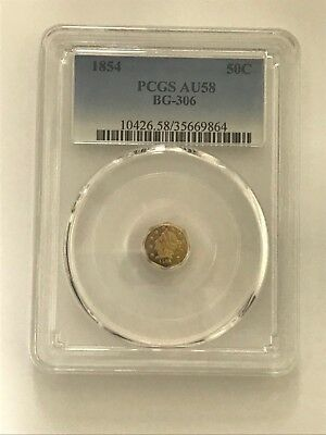 1854 California Fractional Gold Octagonal Half PCGS AU58 BG-306 - Rarity 4