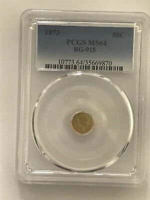 1873 California Fractional Gold Octagonal Half PCGS MS64 BG-915 - Rarity 4