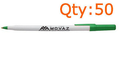 Movaz Trade Logo Pens 50 PCS Ball Point Ink Round Stic Black Cap Style