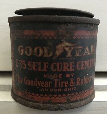 Vintage Rare 1930's Good Year Tire Co. Self Cure Cement Advertising Tin Can