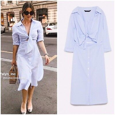 030c605f Nwt Zara Ss18 Blue/White Striped Dress With Knotted Detail 4043/089_Xs S M  L Xl