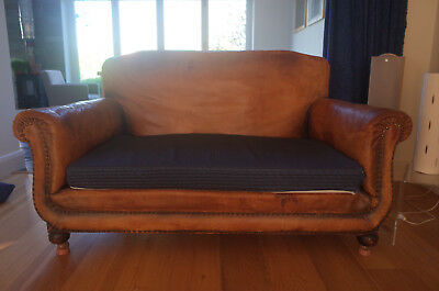 Antique Vintage Edwardian Leather Two Seater Settee