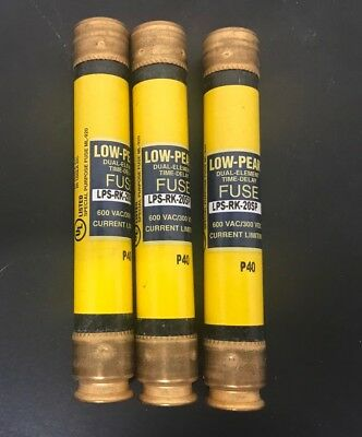 (3)  Cooper Bussmann LPS-RK-20SP LOW PEAK DUAL-ELEMENT TIME DELAY FUSES 600 VAC