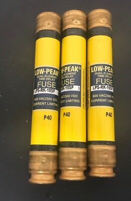 3 Cooper Bussmann LPS-RK-10SP LOW PEAK DUAL-ELEMENT TIME DELAY FUSES 600 VAC