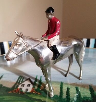 "Vintage 1930's metal Horse & Jockey Figurine 5"" Thoroughbred racehorse"