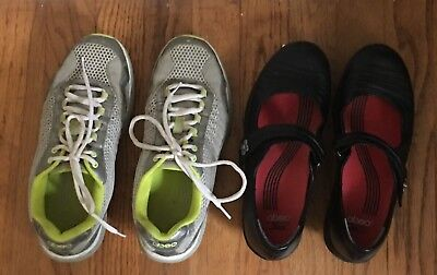 Lot of 2 pair Abeo Rocs Black Mary Janes (7) & Athletic Shoes (7.5) Women's