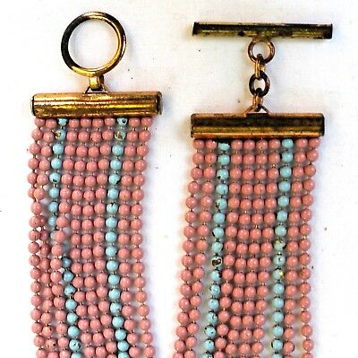 Antique Victorian/Deco 10-Strand Pink/Turquoise Enamel Solid Brass Bead Bracelet