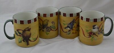 Lenox Winter Greetings Everyday Birds Oven to Table Set 4 Mugs #1