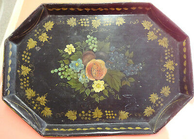 Antique Small Octagonal Hand Painted Tole Tray Peaches & Grapes