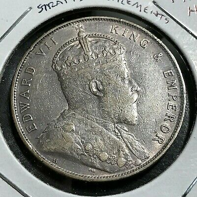 1907-H Straights Settlements Silver One Dollar Crown Coin
